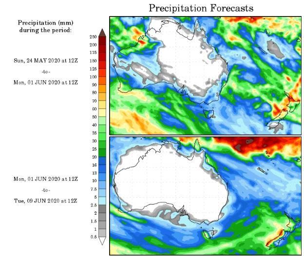 total precipitation rainfall australia