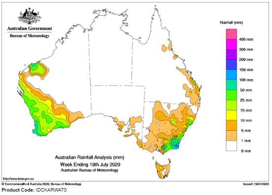last week total rainfall australia