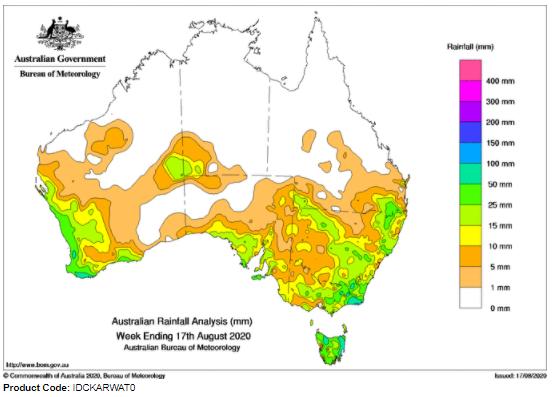 last week total rainfall australia