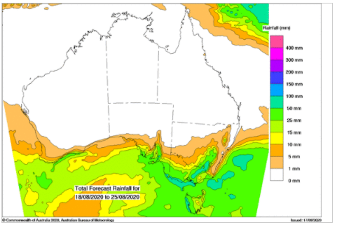 total rainfall forecast australia