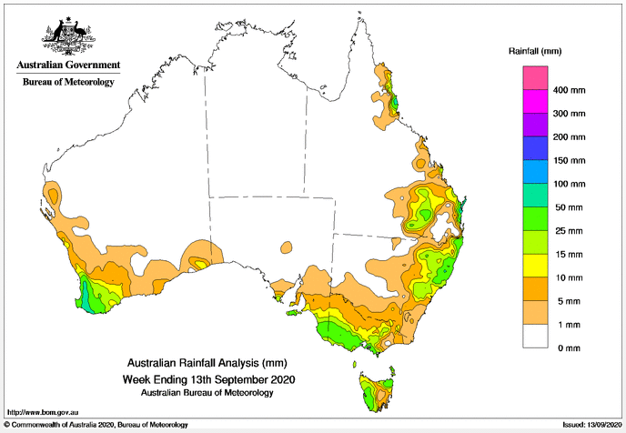 Australian Rainfall Analysis Week Ending 13.09.2020