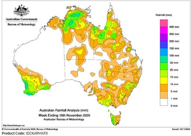 Last Week's Rainfall - 16.11.2020